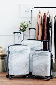 Good solution if you have to keep the luggage in plain sight. Could do with marble contact paper and a thrifted hard luggage set. >>>Marble Luggage from CALPAK Luggage Sets, Travel Luggage, Travel Bags, Calpak Luggage, Kids Luggage, Travel Backpack, New Travel, Travel Style, Travel Fashion