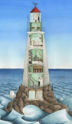 Hello Lighthouse by Sophie Blackall Lighthouse Pictures, Lighthouse Art, Lighthouse Keeper, Underground Bunker, Beacon Of Light, Nautical, Scenery, Illustration Art, Ocean