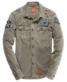 Mens - Delta Shirt in Flatland Grey | Superdry