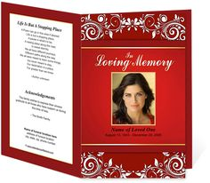 Printable DIY Funeral Bulletins Floral Theme : Gorgeous Ruby design layout with an elegant Preprinted Title Letter Single Fold Program Template