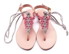 Sandals Summer Silver Grey and Pink Macrame and Pink Leather Sandal / Summer sandal / thong… - There is nothing more comfortable and cool to wear on your feet during the heat season than some flat sandals. Boho Sandals, Sandals Outfit, Espadrille Sandals, Bare Foot Sandals, Flat Sandals, Leather Sandals, Pink Leather, Calf Leather, Hippie Shoes