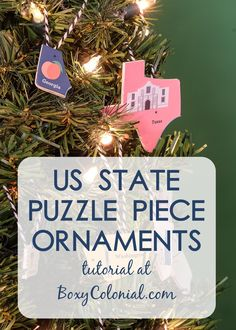 Making US state puzzle piece ornaments from a US map puzzle. Mini Christmas tree in a kid's room.