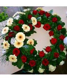 Jerba funerara trandafiri si minigerbera Funeral Bouquet, Christmas Wreaths, Floral Wreath, Holiday Decor, Home Decor, Floral Crown, Decoration Home, Room Decor, Home Interior Design