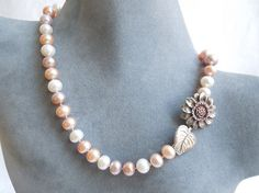 Sunflower Clasp Freshwater Pastel  Pearl Necklace by seemomster.