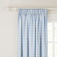 Buy little home at John Lewis Gingham Check Pencil Pleat Curtains, Blue, Pair