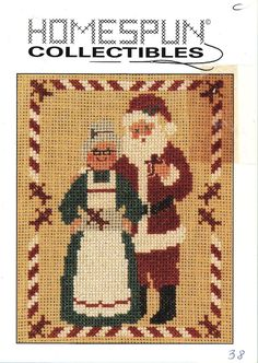 Homespun Collectibles 38 Santa Claus And Mrs. Claus Counted Cross Stitch OOP #HomespunCollectibles