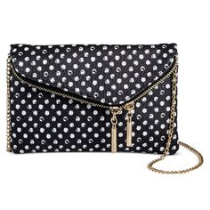 Faux Leather Mini Crossbody Handbag With Polka Dot Design And Fold Over Closure - Black/White, Women's