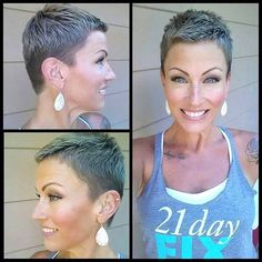 Superb Short Pixie Haircuts for Women - Are you looking for an extraordinary innovation? Are you tired of your long boring hair style? Super Short Hair, Short Grey Hair, Short Hair Cuts, Short Hair Styles, Very Short Pixie Cuts, Short Pixie Haircuts, Pixie Hairstyles, Short Hairstyles For Women, Cool Hairstyles