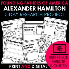 Your students will love learning about Alexander Hamilton - one of the Founding Fathers of America - with this fun research project. Scaffolded notes support students through the research process from start to finish. Simply share the kid-friendly Reference Website created for this project with your... Daily Lesson Plan, Lesson Plans, Reference Website, Benjamin Franklin, Research Projects, Create Website, Founding Fathers, Google Classroom, Upper Elementary