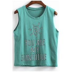 Cute YOU ARE MY SUNSHINE Sleeveless Top ($26) ❤ liked on Polyvore featuring tops, sleeveless tops, cotton cami, camisole tops, blue tank and blue top