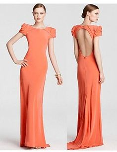 Seeing versions of this everywhere it seems... love. ABS Rosette Shoulder Gown in coral.