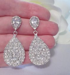 Rhinestone teardrop earrings. Can be bought at Queen Me Jewelry on Etsy