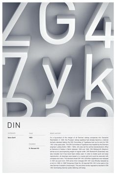 3D Typographic Poster Design.    Independent multidisciplinary design studio Woodhouse created these stunning type posters of 6 iconic fonts such as: Trade Gothic, Helvetica, Futura, DIN, Clarendon, and Bodoni. The typefaces are depicted as 3D letters while the description below is clean and simple. - #typography #type #din