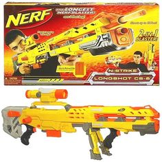 NERF N-Strike Longshot CS-6 Blaster YELLOW version   - Click image twice for more info - See a larger selection of Nerf at http://zkidstoys.com/product-category/nerf/ - kids, toddler, child, children, toys, toy gun, kids gift ideas, activity toys, toddler gift ideas, holidays, christmas , boys, little boys