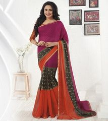Orange & Pink Color Georgette Sarees For Casual Parties : Sharda Collection  YF-40875