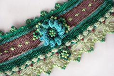 Dos Gardenias Para Ti crochet cuff with crocheted by ellisaveta