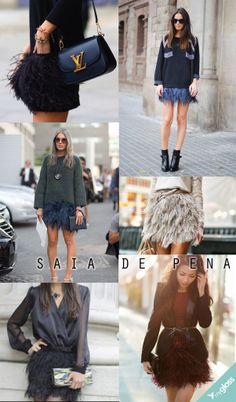 As mini saias de pena fazem parte dos looks de várias fashionistas e prometem ser uma das peças queridinhas esse ano. Pode investir!