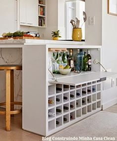 Cool 45 Gorgeous Minibar Designs Ideas For Your Kitchen Mini Bars, Diy Breakfast Bar, Liquor Storage, Built In Bench, Wine Cabinets, Cabinet Design, New Kitchen, Kitchen Wood, Hidden Kitchen