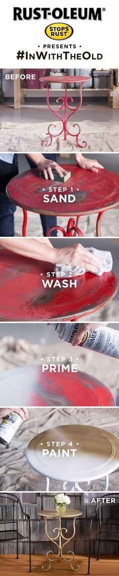 Refresh your rusty outdoor table in 4 simple steps. Don't stop at the table, refinish all of your outdoor furniture with Stops Rust. Whether a vintage piece of decor, dated furniture, rusty metal table or old chair, you can make it look new again with this easy DIY tutorial and Rust-Oleum Stops Rust. #inwiththeold