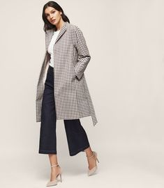 REISS - MAE CHECKED TRENCH COAT