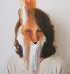 Charlotte Caron is 23 years young artist from Paris. The paintings of artist Charlotte Caron explores both the tendency between the animal and the portrait. Animal Masks, Animal Heads, Animal Fur, L'art Du Portrait, Pet Portraits, Surreal Portraits, Faceless Portrait, Portrait Paintings, Charlotte Caron