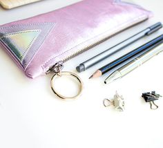 Metallic Leather Pencil Case Pink Pen Pouch Slim by gmaloudesigns
