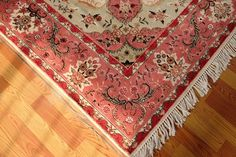 65 X 95 Pink Red Fine Chic Charm Living Room Decor Persian Silk Wool Carpet