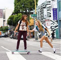 Skater girls on Penny Longboard