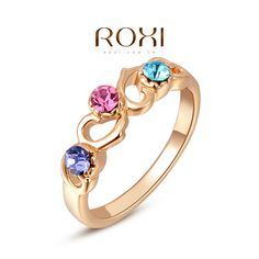 OBABY Jewelry ROXI Gifts Classic Genuine Austrian Crystal Sample Sales  Colorful Stones Heart Ring Jewelry Party