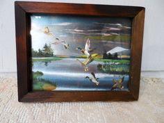 Lovely Vintage Satin DUCKS In Flight Picture in Wood Frame Hartmans Crafts KC, Missouri  via Orphaned Treasures Etsy
