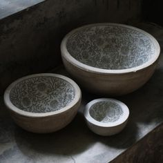 Floral Lined Bowl - DIY inspiration pic, too, too pricey for concrete bowl/planter ...