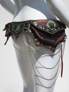 Playa Princess utility belt, brown leather hip pouch with dangle chains. Custom design by Ahni Radvanyi of Resonating Threads shop online: https://www.etsy.com/shop/ahniradvanyi see whats new at http://www.resonatingthreads.com/