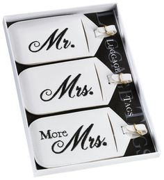 Send the newlyweds off on their Honeymoon in style with our Mr. and Mrs. Honeymoon Luggage Tag Gift Set.  Set of three leatherette luggage tags.