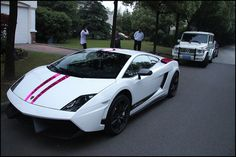 White with pink stripes Lamborghini.