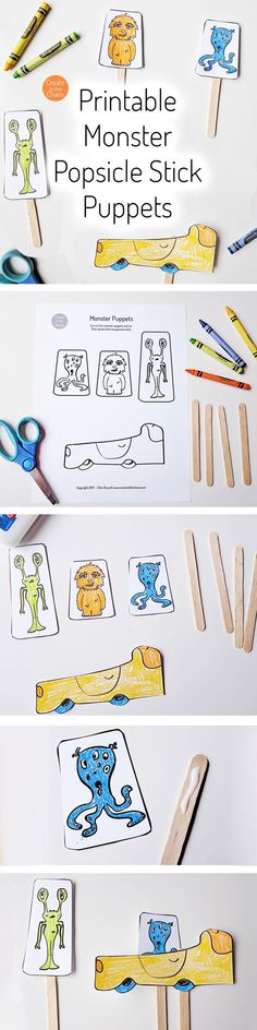Quick and easy craft for kids! Includes a free printable to make these cute monster popsicle stick puppets. -- Create in the Chaos