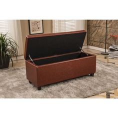 $203 41.35 inches long x 15 inches wide x 10 inches deep.  Brown Waxed Texture Faux Leather Storage Ottoman
