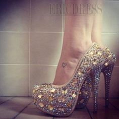 New Fashion Shinning Rhinestones  Stiletto Platform High Heel Prom Shoes  Prom Shoes