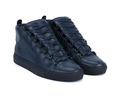 Navy And Black Is The New Black: @Balenciaga Leather Arena Hi-Top #Sneakers | #SHOEOGRAPHY