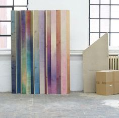 Hand colored room divider by Meike Harde