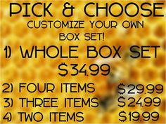 NEW! Pick and choose how many items and which items you want in your April box set. Customize it to your wants and price range.