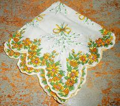 Vintage Handkerchief Floral Yellow Ladies Vintage by TheBackShak