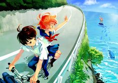 Ponyo Fan Art cute ponyo and that little boy older love it<< I love that she's waving to her Father! :D