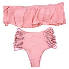 Women Strapless Bikini Reversible Neon Color Swimsuit High Waist Cross Straps Biquini Sexy Hollow Out Swimwear