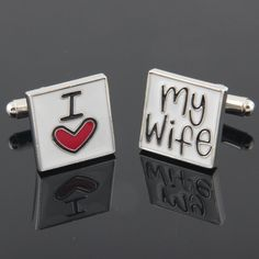 Lovely I heart my wife Cufflinks Wedding Gift For by bkadoremi