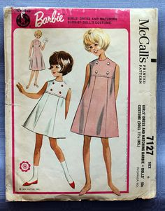 Very sweet girl's A-line dress, classic 60s.    From envelope:  Girls high waisted, sleeveless dress and matching costume for Barbie Doll. Girls
