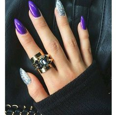 Dont Like The Shape But Purple Silver Is One Of My Favourite Nail Colour Combos 15 Fabulous Prom Designs You Must See