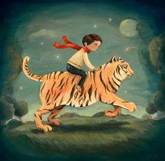Dream+Animals+Tiger+Boy+Print+by+theblackapple+on+Etsy,+$16.00