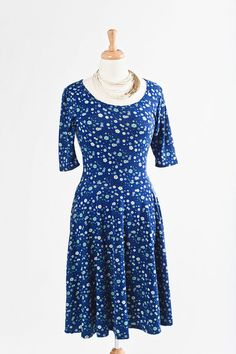 small blue floral Nicole dress by LulaRoe