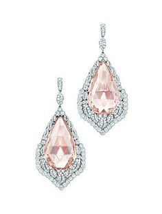 Tiffany morganite earrings with diamond leaves in platinum and 18 karat rose gold, from the 2013 Blue Book Collection.