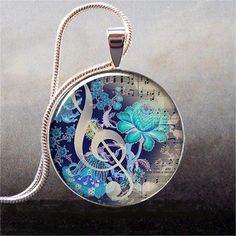 The Color of Music art pendant music by thependantemporium on Etsy, $9.25